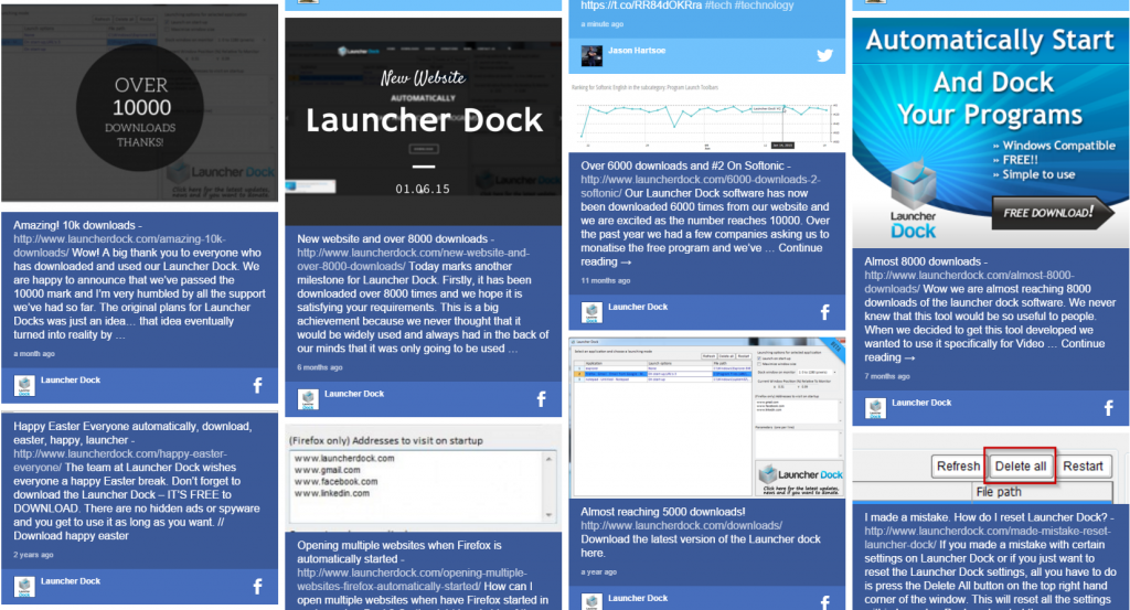 Launcher Dock Social Wall Display