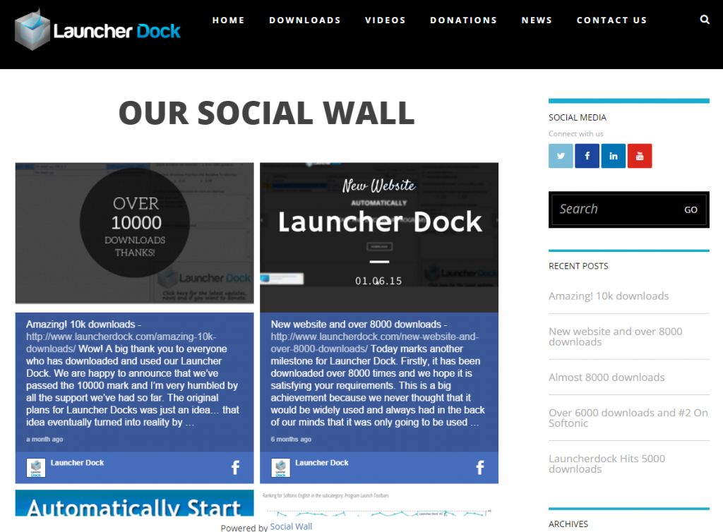 Our Social Wall on Launcher Dock Website