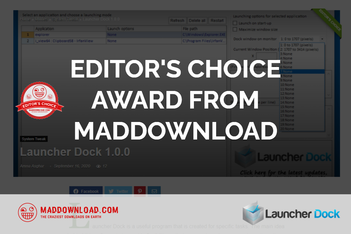 EDITOR'S CHOICE AWARD FROM MADDOWNLOAD